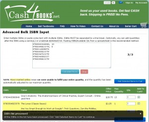 Cash4Books - Bulk entry screenshot