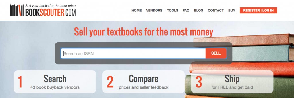Selling textbooks at Book Scouter and other third-party referral sites.